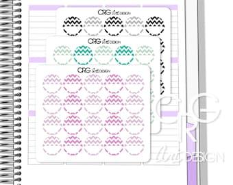 Chevron Circle Stickers    Erin Condren Planner Filofax Sticker Plum Planner