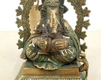 Vintage Bronze Elephant GANESHA Hinduism Statue Figurine