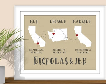 State Art, Met Engaged Married - Personalized Important Dates, Special dates, Custom State Art. Printable. All States & Countries available