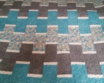 Teal and gray king quilt