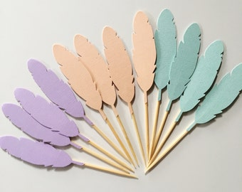 12 feather cupcake toppers in Peach, Lavender and Pastel Mint Boho