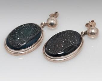 Sterling Silver Black Geode Drop Earrings