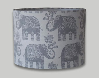 Amy Elephant Cream Grey Drum Lampshade Lightshade 20cm 25cm 30cm 35cm 40cm diameter available in an range of depths