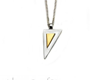 Silver and Gold Pendant / Keum Boo Jewelry / Keum-Boo Pendants / Geometric necklace / 24 carrot gold jewellery / occult necklaces / angles