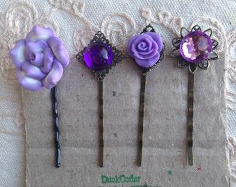 Purple Hair Pins, Decorative Hair pins, Hair pins purple, decorative hair pins, purple hair pins, decorative purple hair pins, purple