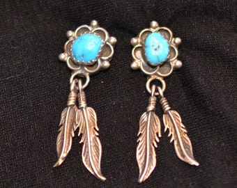 Native American Earrings Turquoise Sterling Silver