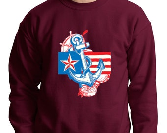 Anchored In USA Crewneck 4th of July American Flag Sweatshirt