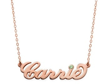 Birthstones Custom Made Carrie Style Nameplate Necklace select any name to Personalize in 18k Rose Gold Plated 925 Sterling Silver