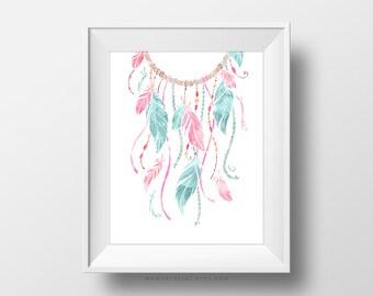 SALE -  Pink Teal Dreamcatcher, Baby Girl Nursery, Feather Illustration, Ombre, Girl Bedroom Deco, Dorm Wall, Tribal Print, Pastel Art