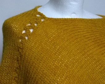 mohair yellow poncho