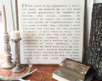 Psalm 23 2x2 Handpainted Wood Sign