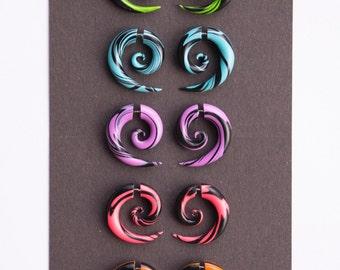 Fake gauge earrings red blue violet orange green black fake plugs fake gauges