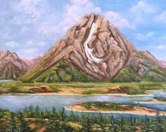 "gift, Teton,landscape, ""My Head is in the Clouds"", Mt.  Moran Summit,  , landscape painting, oil painting, art,Jackson Hole,"