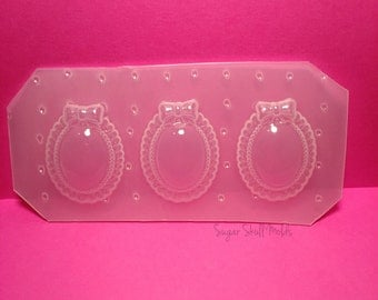 3pc Cameo Setting With Bow Flexible Plastic Mold Set