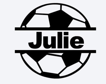 Personalized Split Soccer Ball Decal, Vinyl Decal,Sports Decal, Soccer