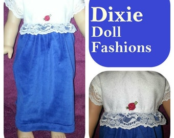 American Handcrafted 18 inch girl Doll Clothes by Dixie ! Blue Velvety Long Dress