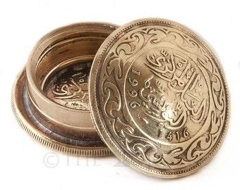 Tunisia 100 Millimes Coin Snuff Box / Pill Pot / Stash Box / Keepsake