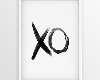 XO paint brush Print, Valentine Typography Art, xo Art, Printable Art, Hugs And Kisses, xo Wall Art, Printable Typography,  XO Digital Print