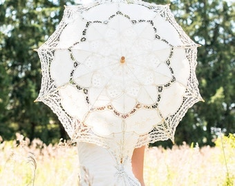 Antiqued Battenburg Lace Parasol Standard Ivory