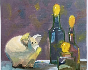 """Still life. Bottles with yellow tops, purple painting, pig painting, Original oil painting 10x10"""". Kitchen Art. From Artist. Moneybox."""