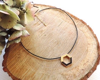 Black Hexagon Choker, gold, enamel, leather, pastel black, modern necklace