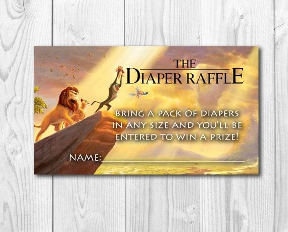 Lion King Baby Shower Diaper Raffle, Diaper Raffle Tickets, Jungle Raffle, Disney Printable, Lion Invitation, Lion King, Simba, Rafiki