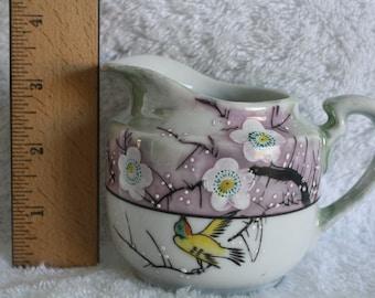Moriage Purple Green Lustre Creamer TRICO Nagoya Japan Hand Painted