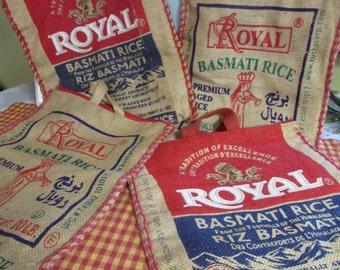 Jute bag with zipper, VINTAGE Royal Basmati Empty Rice Burlap Jute, burlap pocket, head curtain cushion DIY VTG