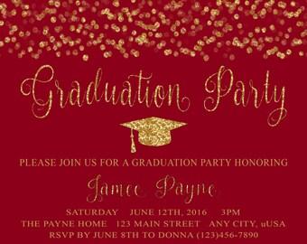 Glitter Graduation Party Invitation PRINTABLE DIY