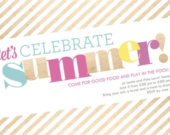 Summer Party invitations, shimmer invite, digital invitation, party invite template, 4x6 or 5x7 printable card