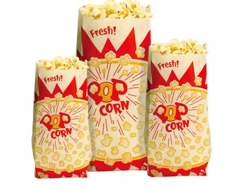 Popcorn Economic Paper Bags Movie Night Snack Sacks Pinch Bottom Various Sizes