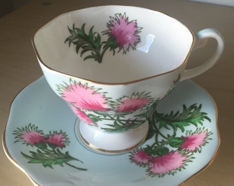 """E B Foley """"Glengarry Thistle"""" Vintage Teacup and Saucer, Pink Thistle Light Pastel Blue Tea Cup and Saucer, English China"""