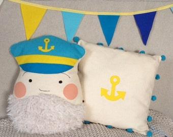 Anchor cushion, maritime, Lieblingskissen#, pillow f. kinder#, Dekokissen#, Kinderzimmereinrichtung#, Seefahrt#Anker#, decorative pillow +.