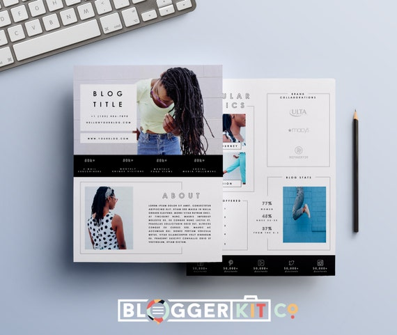 two page media kit template press kit template by bloggerkitco. Black Bedroom Furniture Sets. Home Design Ideas