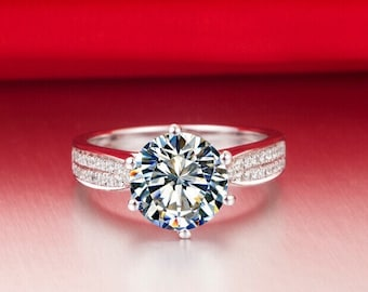 14k Solid White Gold 3ct Synthetic Simulated Diamond Engagement Promise Solitaire ring