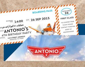 Planes Ticket Birthday Invitation
