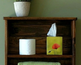 Shelf with Towel Bar made from Rustic Reclaimed & Repurposed Pallet Wood
