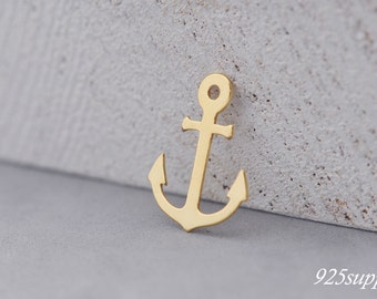 925 Sterling Silver Anchor Charm Gold Plated, Anchor Pendant, Silver Anchor, Small Anchor, Pendant, jewelery making, craft tools,