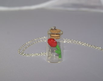 Rose in a Jar Necklace