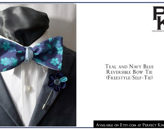 PK's Teal and Navy Blue Bow Tie with a Lapel Pin of Your Choice