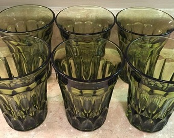 Green Glass Tumblers (set of 6)