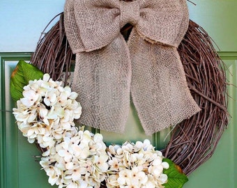 Grapevine Wreath, Hydrangea Wreath, Everyday Wreath, Housewarming Gift, Monogram Wreath, Burlap Wreath, Farm House Wreath, Rustic Wreath