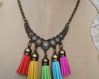 Brass Faux Suede Tassel Assemblage Bib Necklace - NRU245