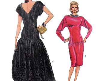 80's Vogue 9797 Evening Dress with Dropped Waist, Straight or Flared Skirt, Long or Short Sleeves and V-Back, Sewing Pattern Size 14-18