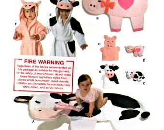2007 Burda 9643 Baby Accessories: Hooded Bathrobes, Play Rugs, Hand Puppets, Soft Toys, Uncut, Factory Folded Sewing Pattern Multi Size 9M-3
