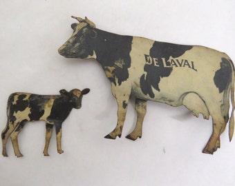 Vintage Antique De Laval Cream Separator Lithographed Tin Holstein Cow & Calf