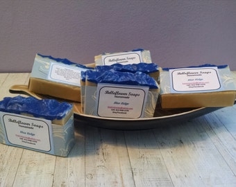 Blue Ridge. BLUEBERRY SCENT! Nummy!!!  I used Sweet Almond oil, Olive oil, Palm oil. Cold Process Soap