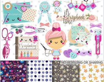 80%OFF - Scrapbooking Clipart, Scrapbooking Graphic, COMMERCIAL USE, Planner Accessories, Scrapbook Party, Scrapbook Clipart