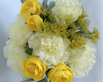 Dining Room Decor, Silk Peony Arrangement , Yellow and Grey, Modern Flower Arrangement, Faux Peony Centerpiece, Table Decor, Set of Two