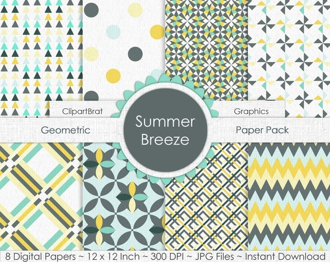 Summer Breeze YELLOW GRAY & MINT Digital Paper Pack Commercial Use Digital Backgrounds Mint Yellow Gray Digital Background Geometric Papers